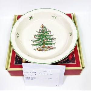 "Spode Christmas Tree Pie Plate Dish 10"" NIB"